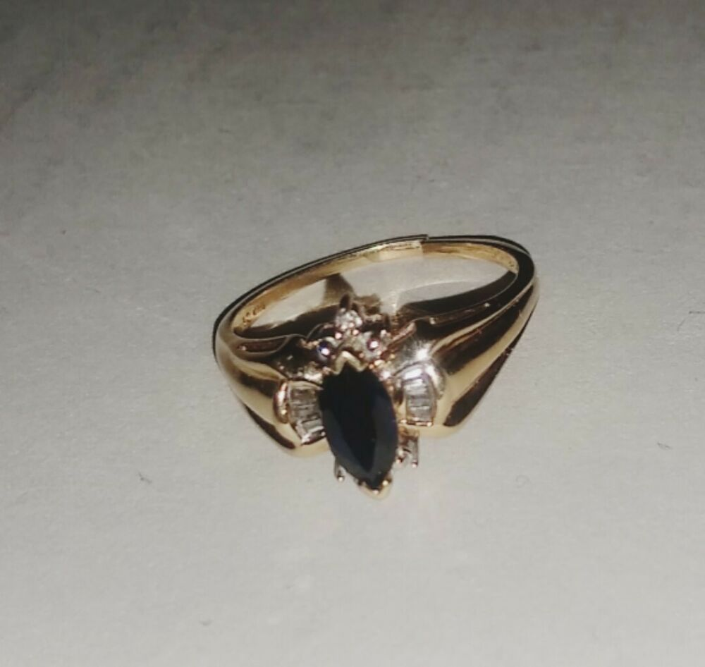 10k Gold And Diamond Ring Sz 8 Damaged See Pictures Withdiamondsgemstones Sapphire Engagement Ring Blue Amethyst And Diamond Ring Blue Sapphire Rings