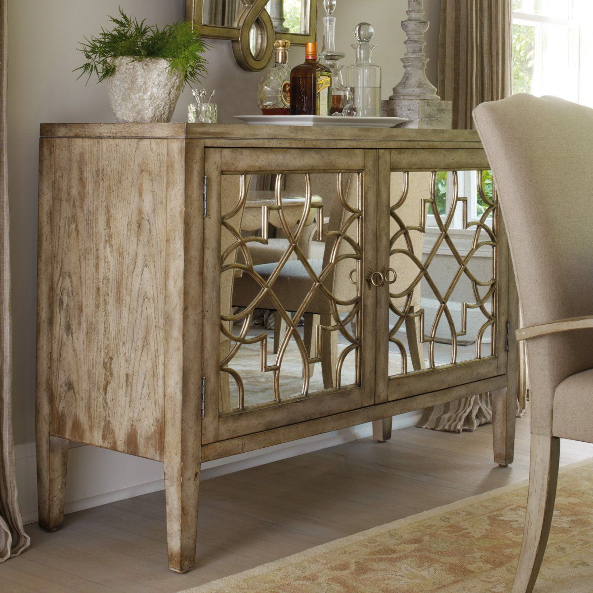 Sanctuary two door mirrored console dining accent furniture at