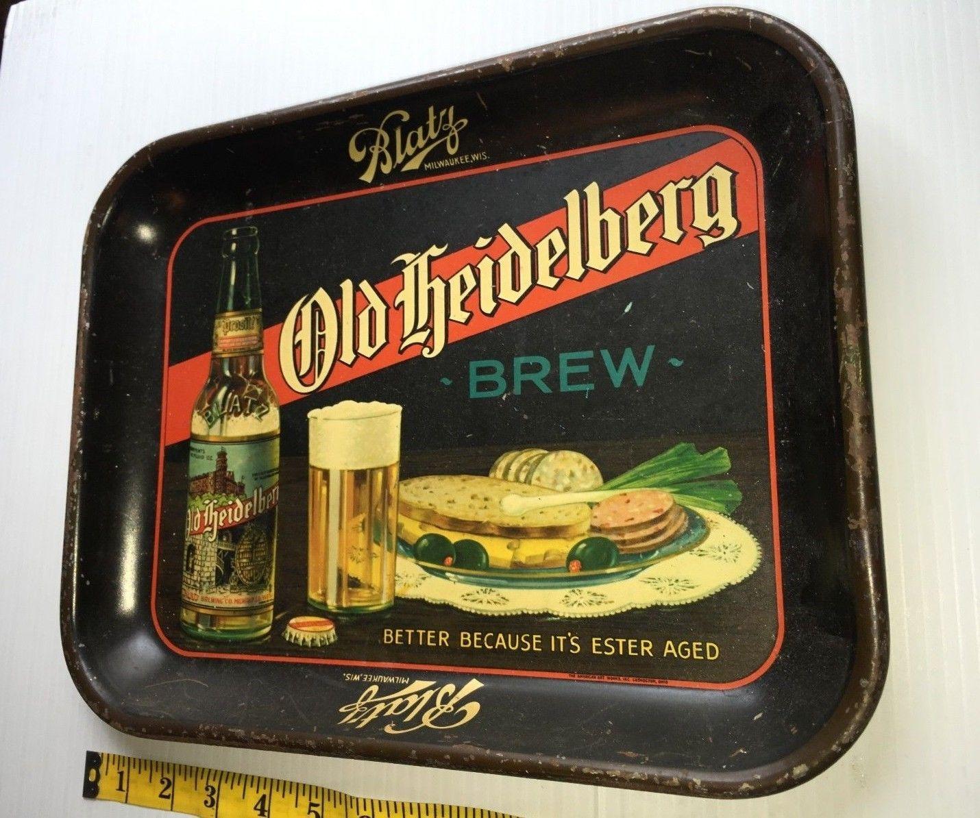Blatz Old Heidelberg Brew Beer Metal Tray Milwaukee