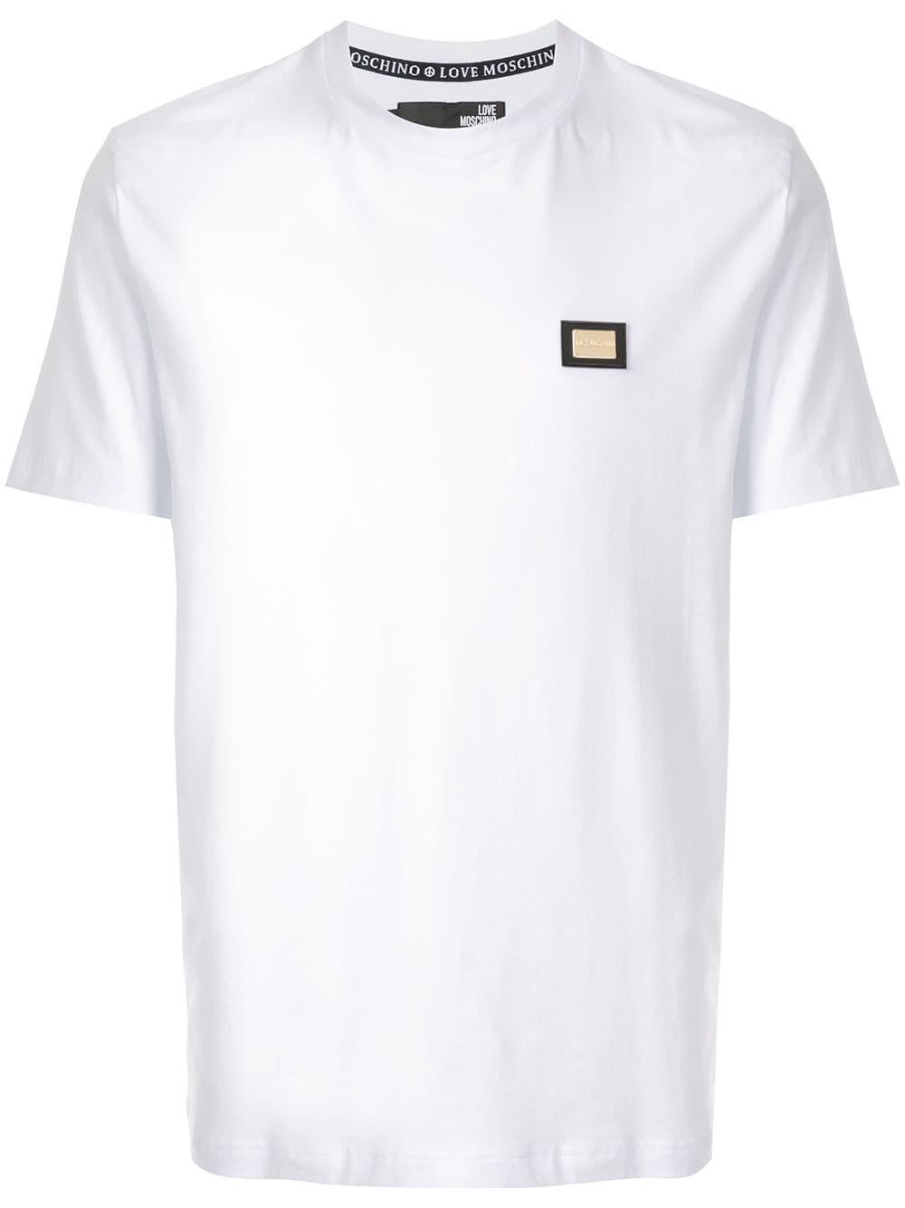 Love Moschino Metallic Plate T Shirt White Moschino Mens Tops Shirts