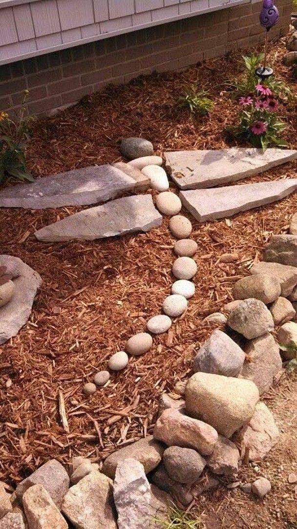 Garden Decoration With Stones For Natural Look Of The Garden Rock Garden Landscaping Backyard Landscaping Designs Backyard Landscaping