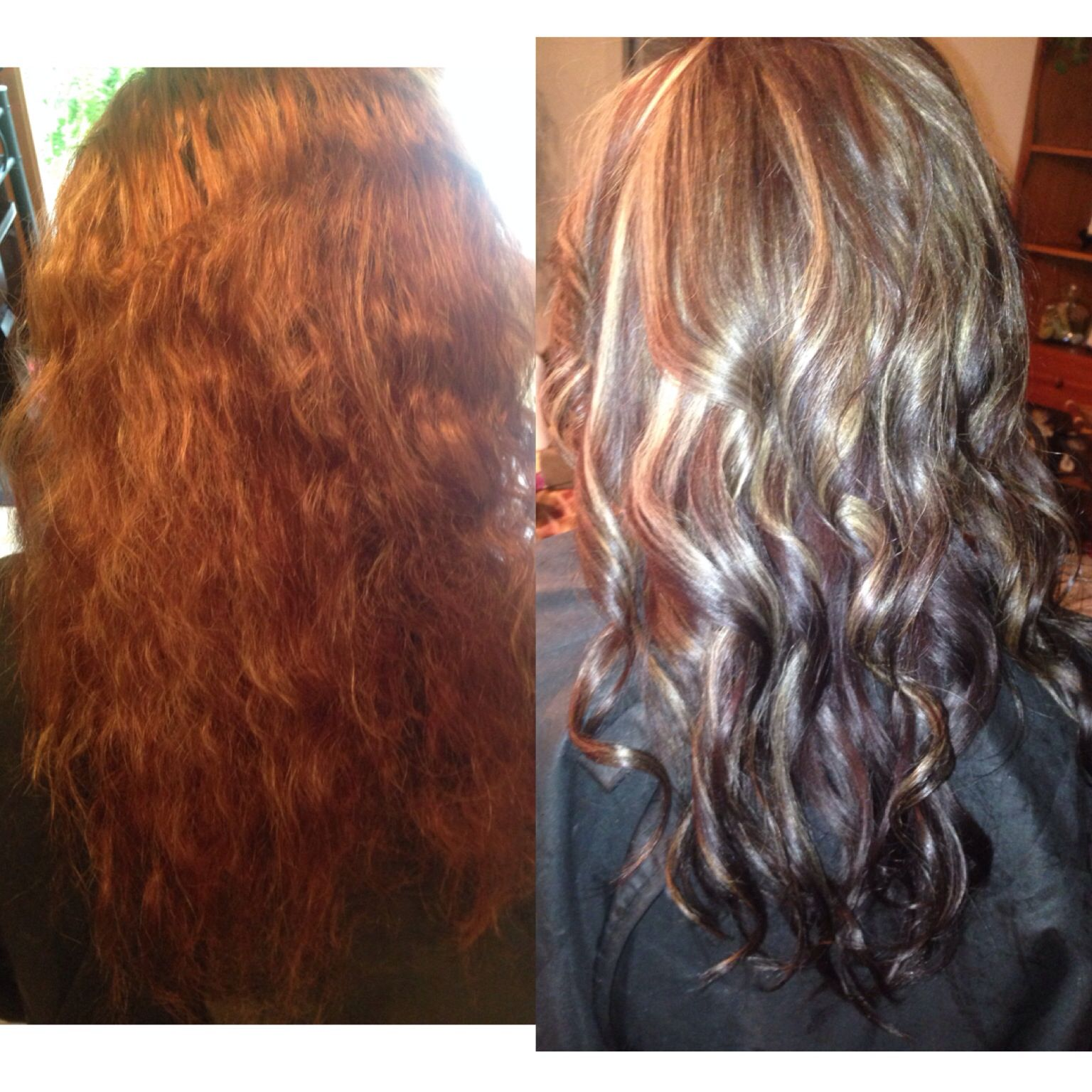 Before and after mocha and highlights hair hair hair by me