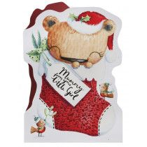 Bear In Stocking Mummy Christmas Card