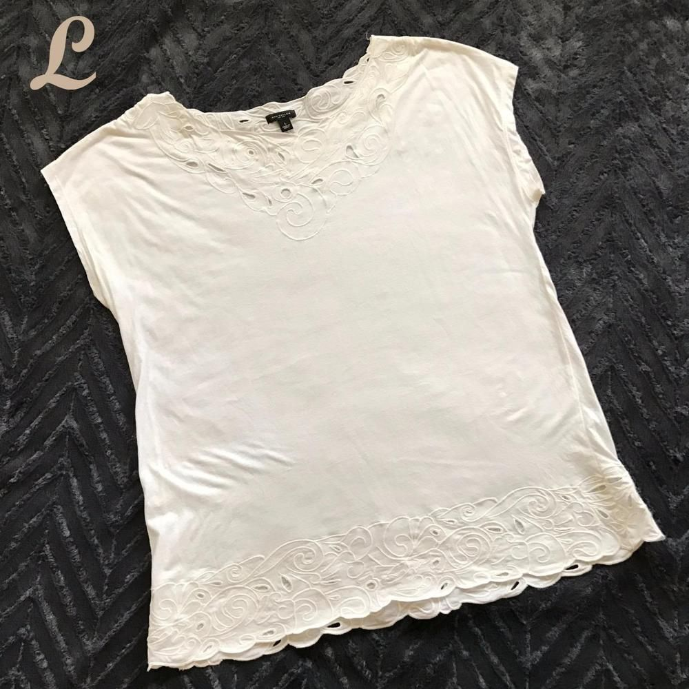 eb005a3d12 Ann Taylor Womens Top Short Sleeve Embroidered Eyelet White Scoop Size L  Large #AnnTaylor #Blouse #Casual