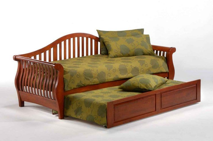 Ideas Queen Size Futon Sofa Daybed With Trundle And Green Pillow