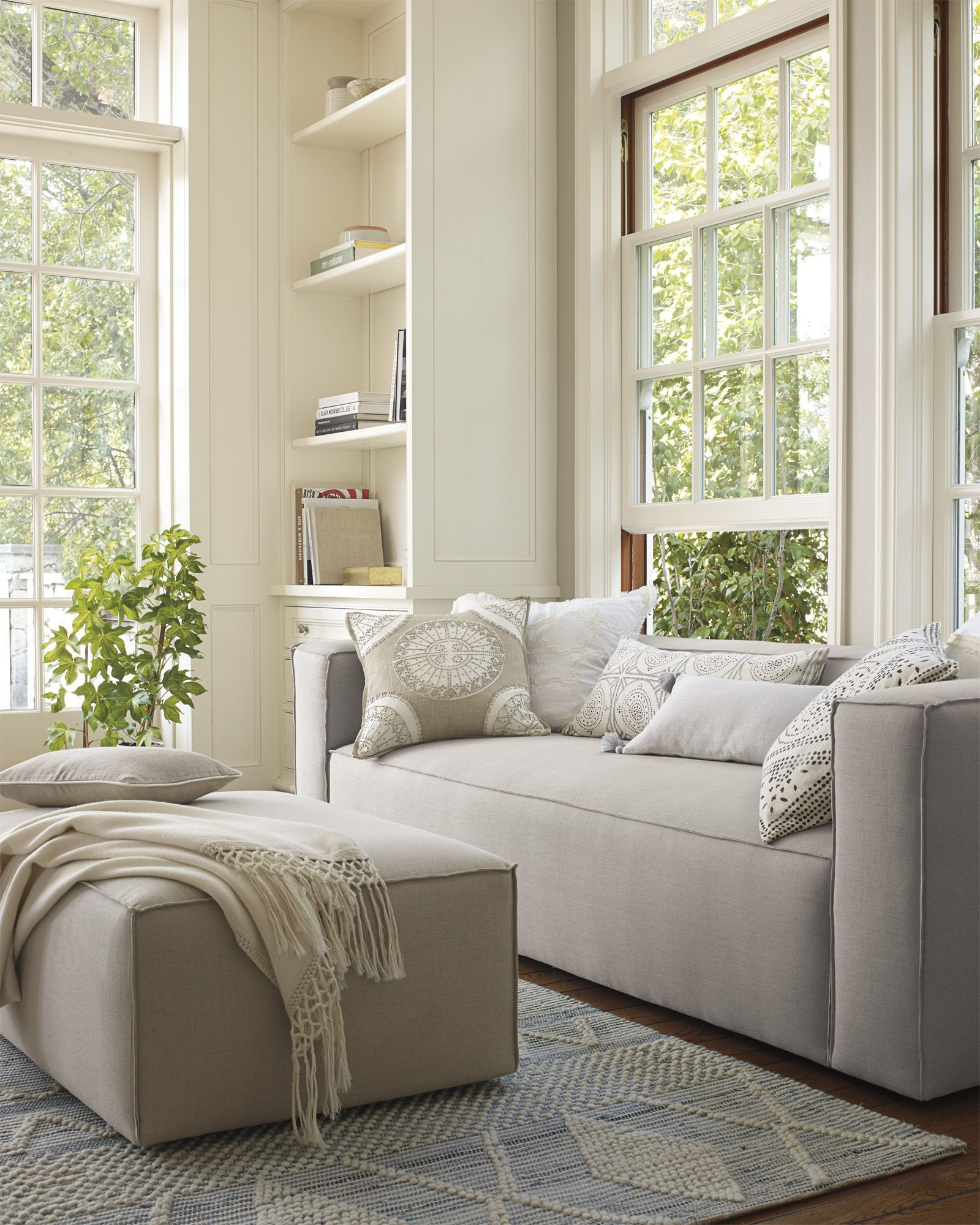 Warm Neutrals Living Room with lots of Natural Light - Serena and