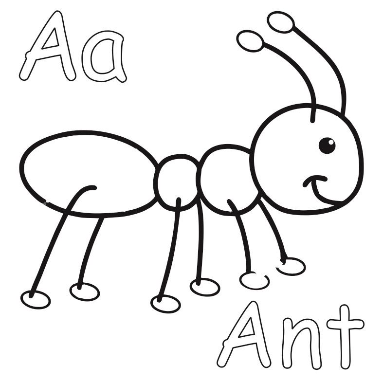 A Is For Ant Coloring Page From Twistynoodle Com Ants Insect