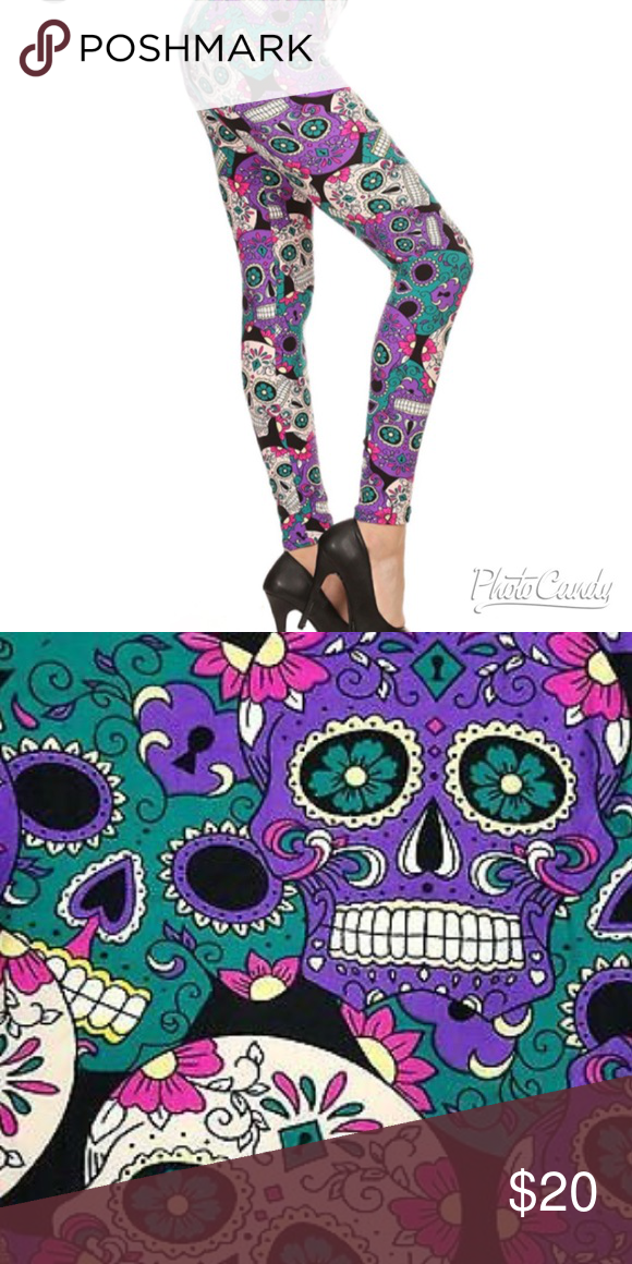 551346678478 🌴PLUS SIZE TEAL/PURPLE SUGAR SKULL LEGGINGS🌴 🍍SAME QUALITY AS WE ALL
