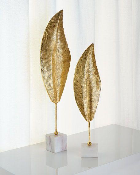 John Richard Collection Golden Leaf Sculptures Leaf Decor Christmas Decor Diy Cheap Accent Decor
