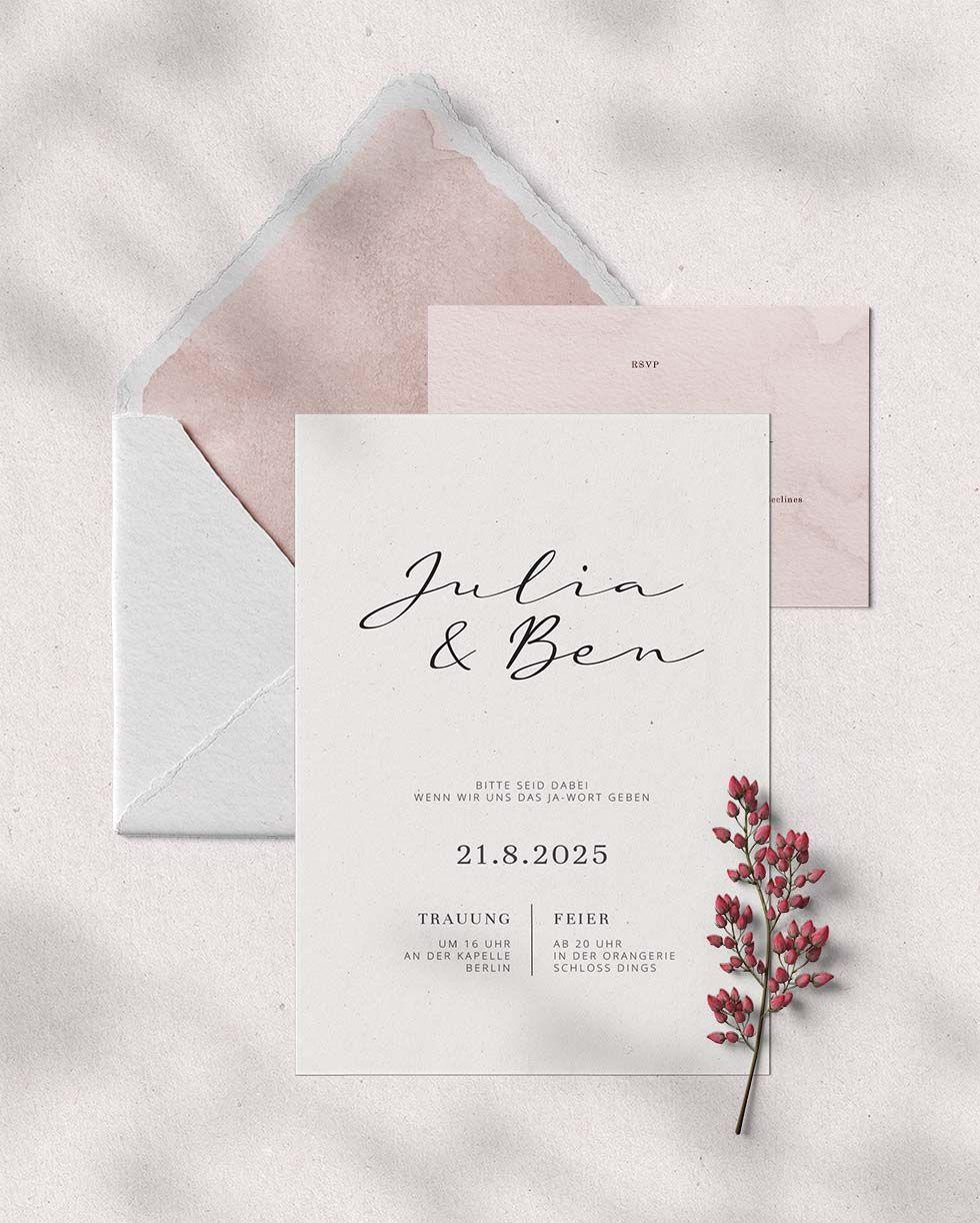 Hochzeitseinladung Vorlage: 25 traumhaft schöne Designs und Textideen