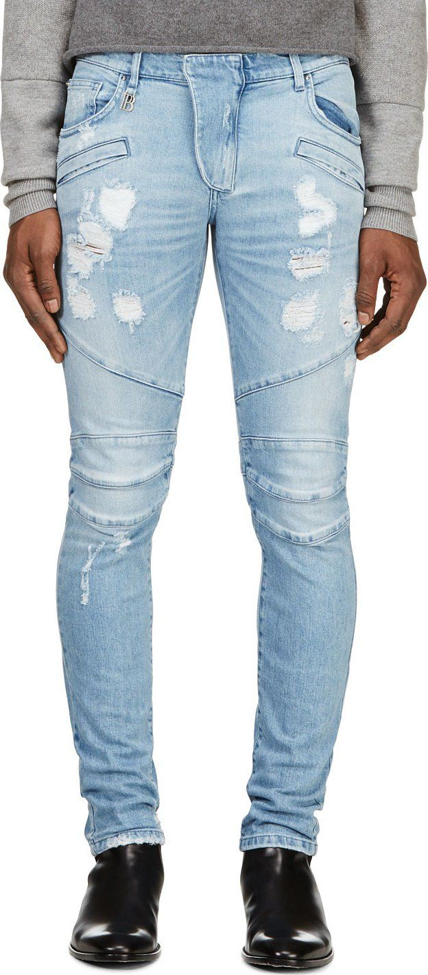 0e034fea42f Pierre Balmain Light Blue Faded & Distressed Slim Jeans | Fashion ...