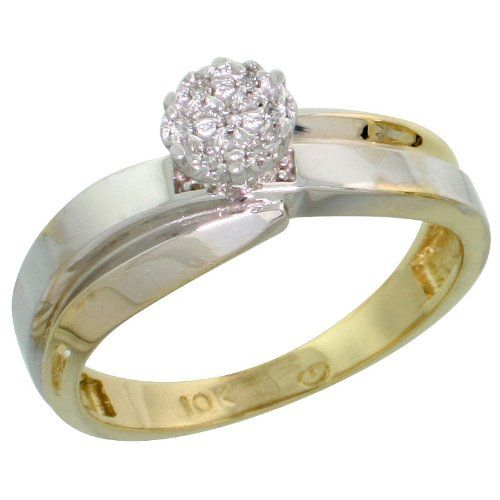 14k Gold Diamond Engagement Ring, w/ 0.05 Carat Brilliant Cut Diamonds, 1/4 in. (6mm) wide, Size 8.5