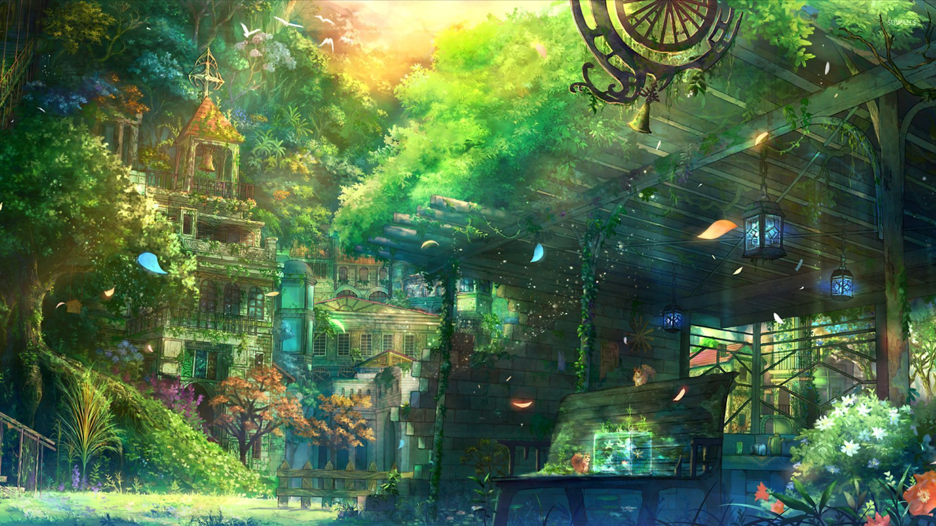 Church garden in spring wallpaper Anime scenery, Scenery