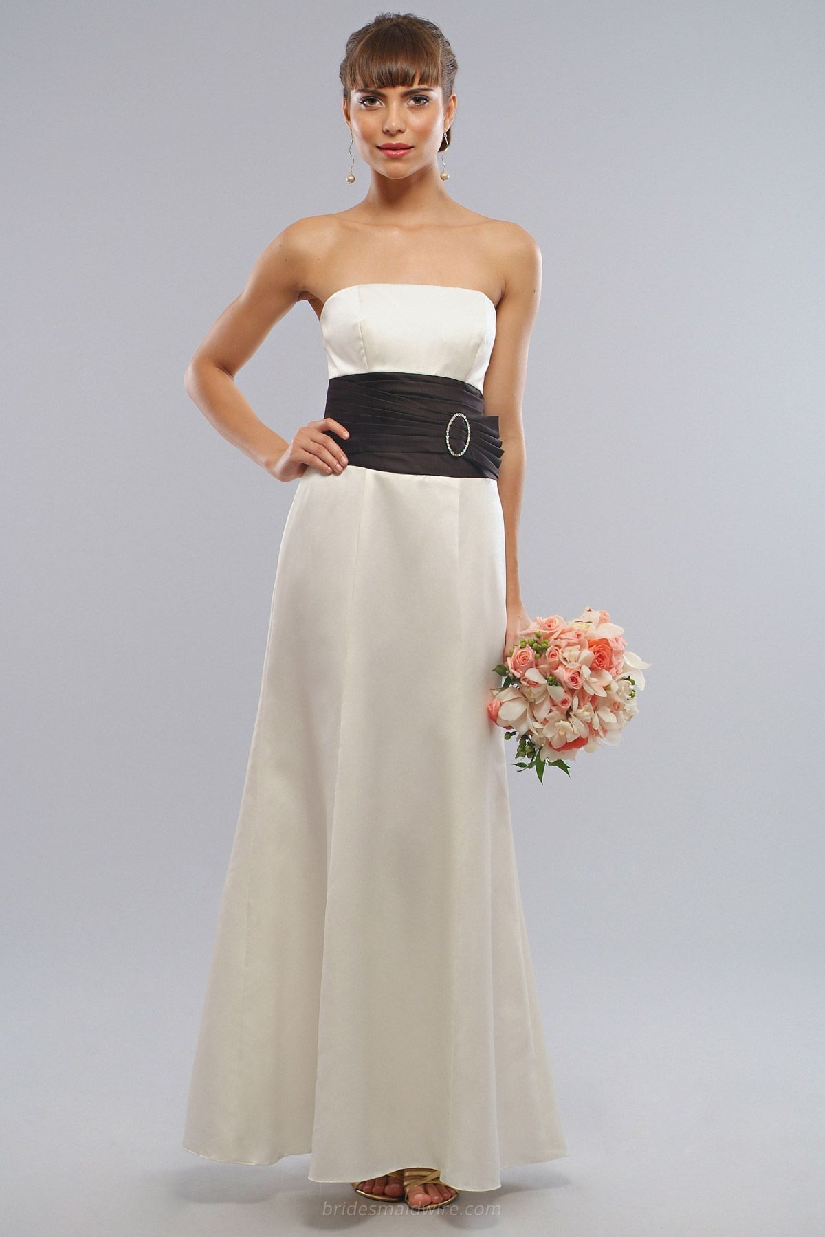 Long ivory satin strapless bridesmaid occasion dress black wide long ivory satin strapless bridesmaid occasion dress black wide waistband ombrellifo Choice Image