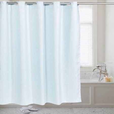 Fabric Shower Curtain Waffle Weave Hookless With Snap Off Liner 70 Inch X 75 Blue