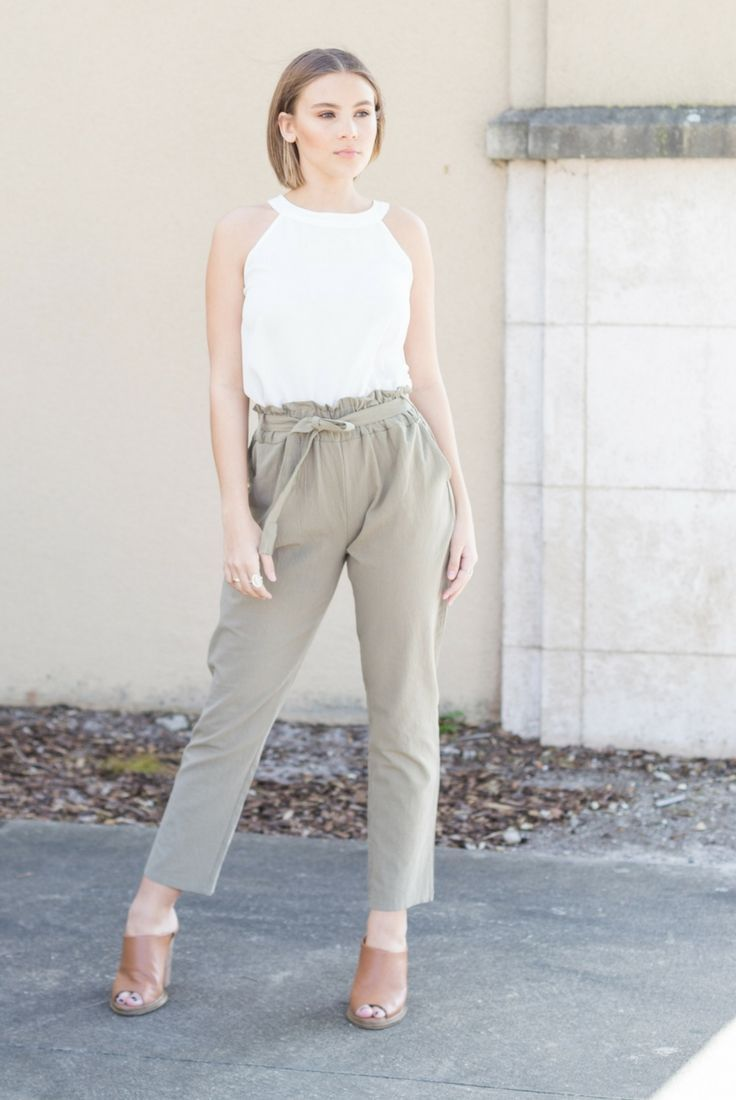 White high neck halter chiffon blouse shirt with front tie army green safari pants ...