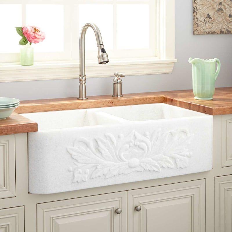 Signature Hardware 909897 36 White Farmhouse Sink Sink Double