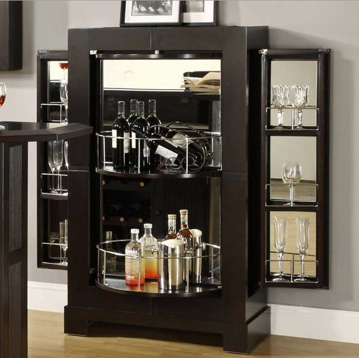 Ideas Luxury Black Howard Miller Sonoma Hide A Bar Liquor Cabinet With  Mirrors And Stainless Steel