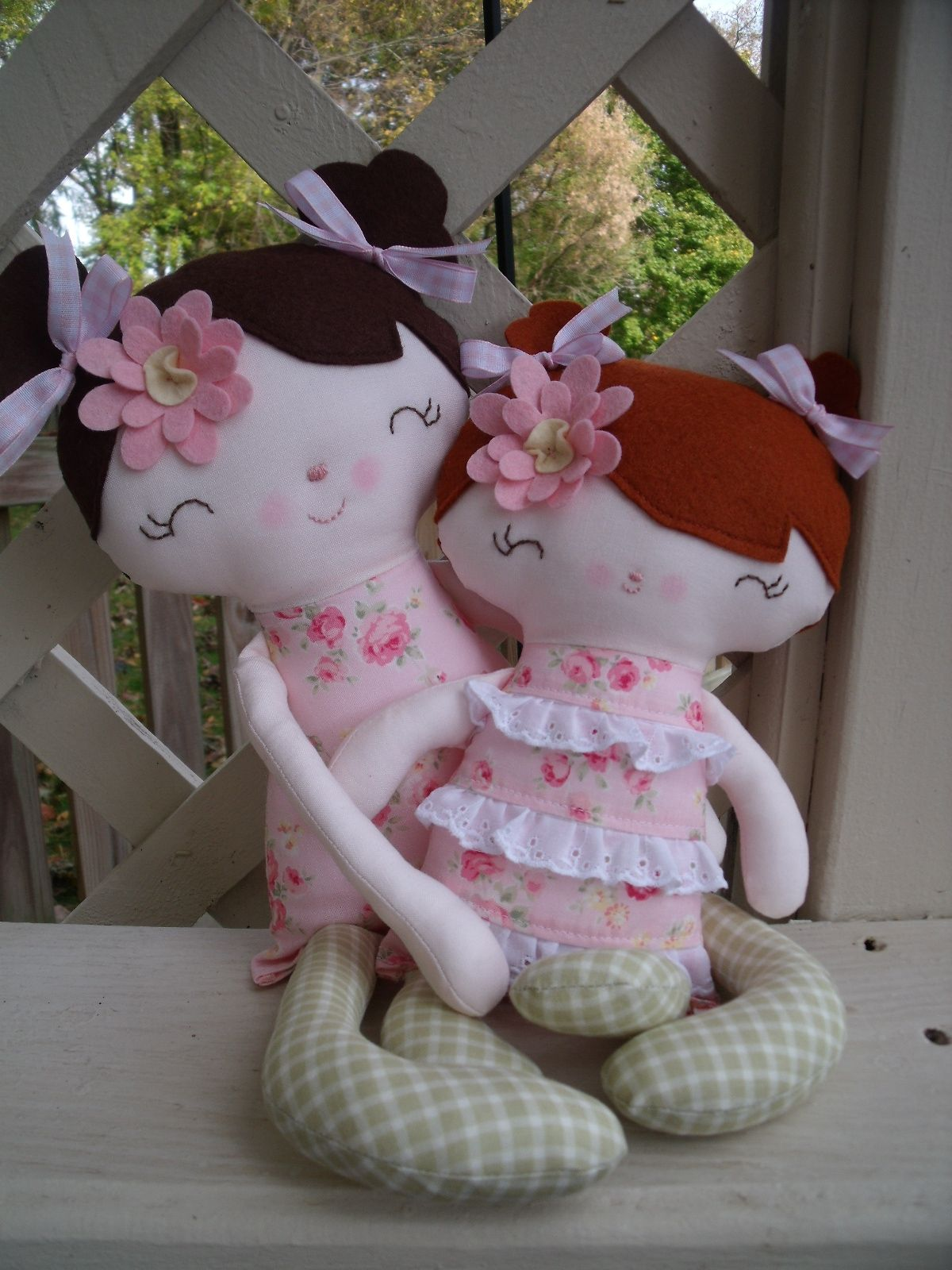 """Handmade rag dolls****A special """"wee one"""" for a new baby and a big girl doll for her big sister  www.facebook.com/dandelionwishesbymimi"""