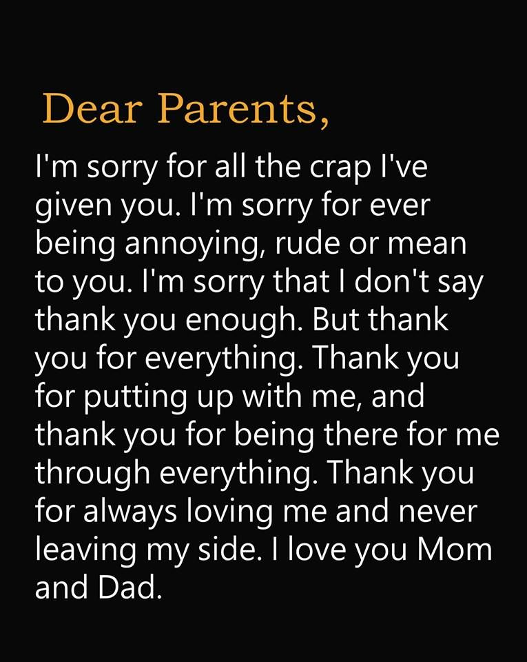 I Love You Mom Dad Dear Parents True Quotes Mom And Dad