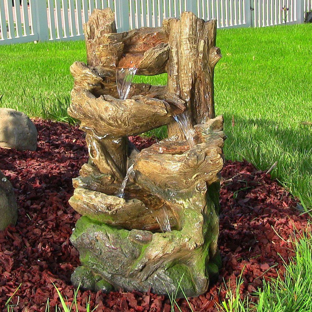 Outdoor Indoor Wood Log Rock Water Fountain Waterfall Garden Decor Yard  Water Feature For Patio Lawn