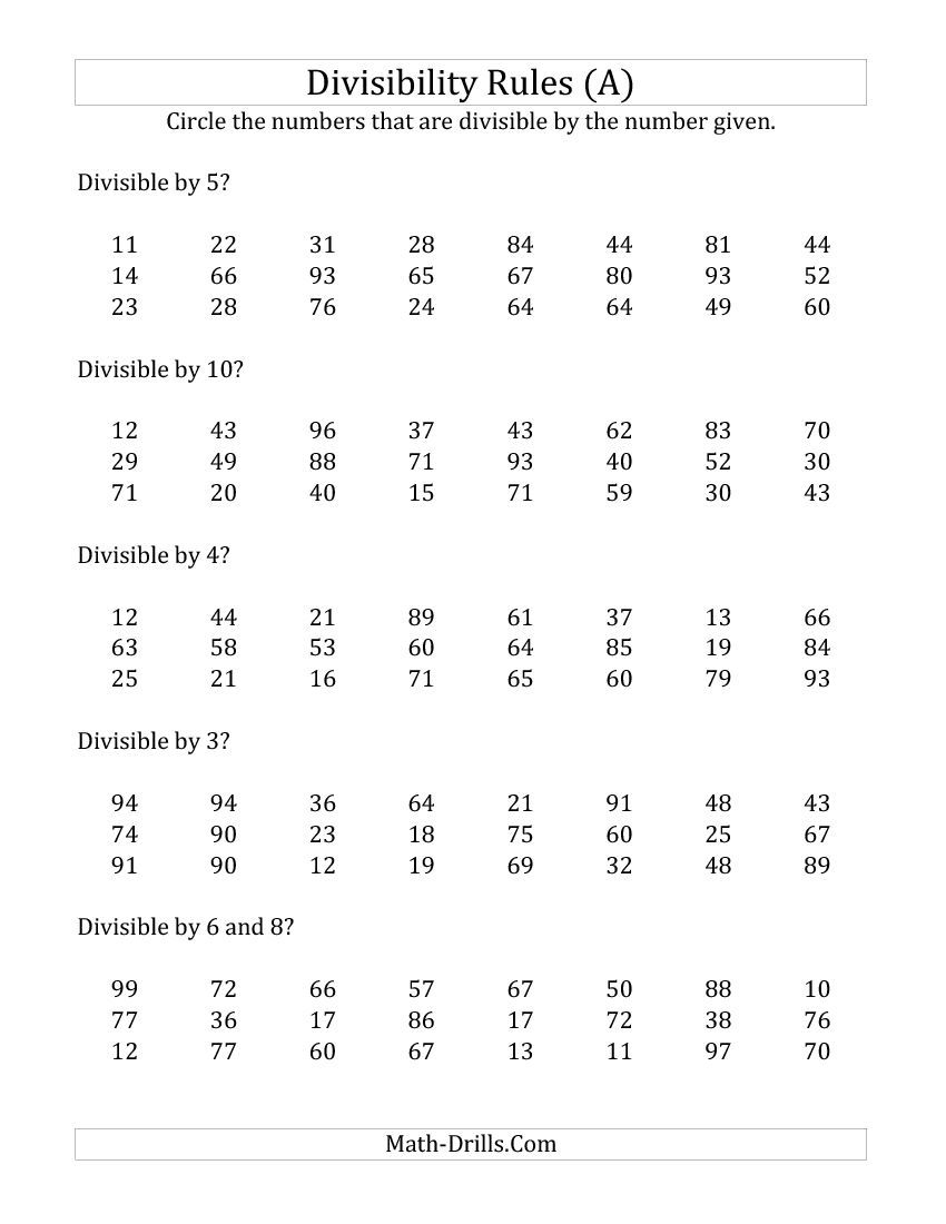 Divisibility Rules for Numbers from 2 to 10 2 Digit Numbers A – Rules of Divisibility Worksheet