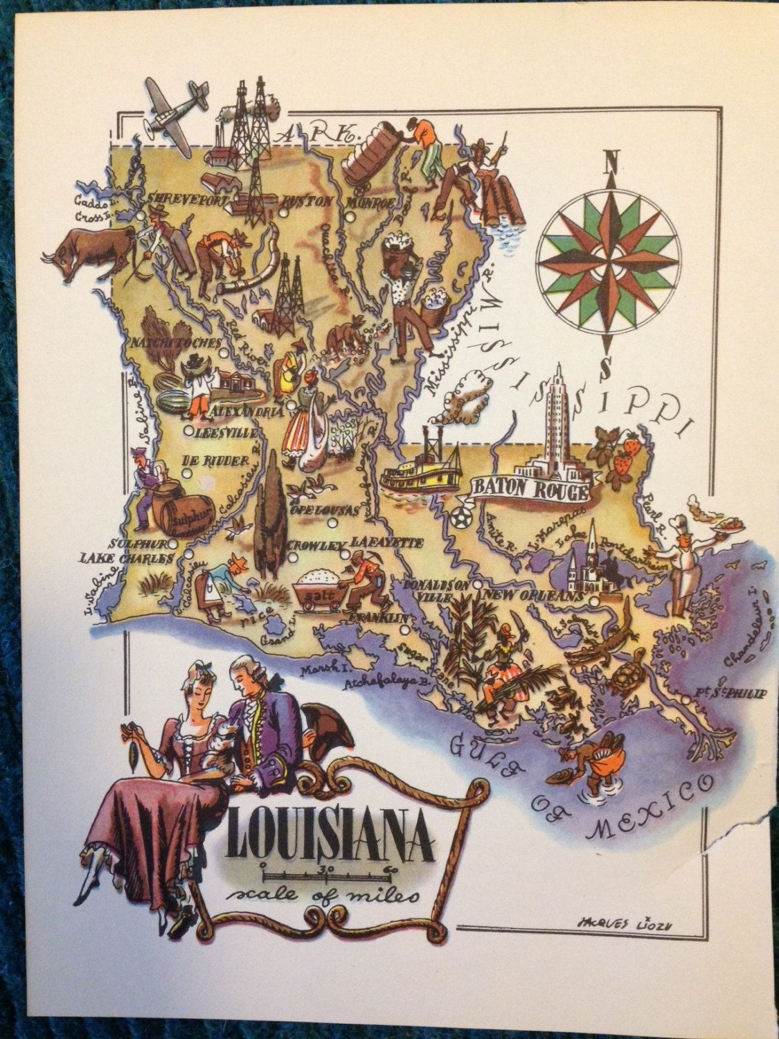 Louisiana Map Old Map Illustration