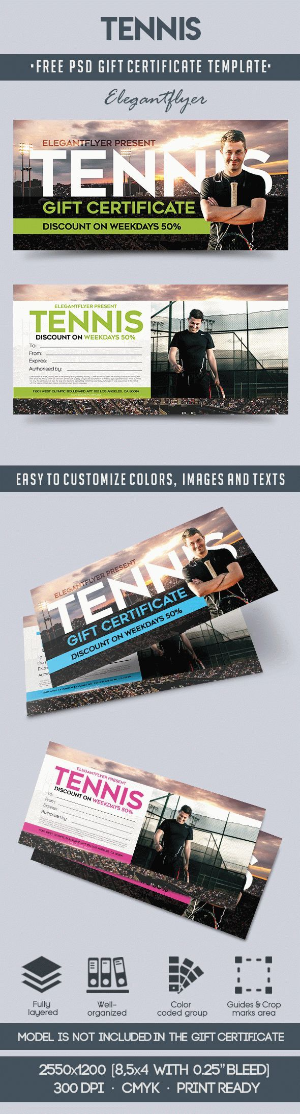 Tennis Free Gift Certificate Psd Template Free Gift Certificate