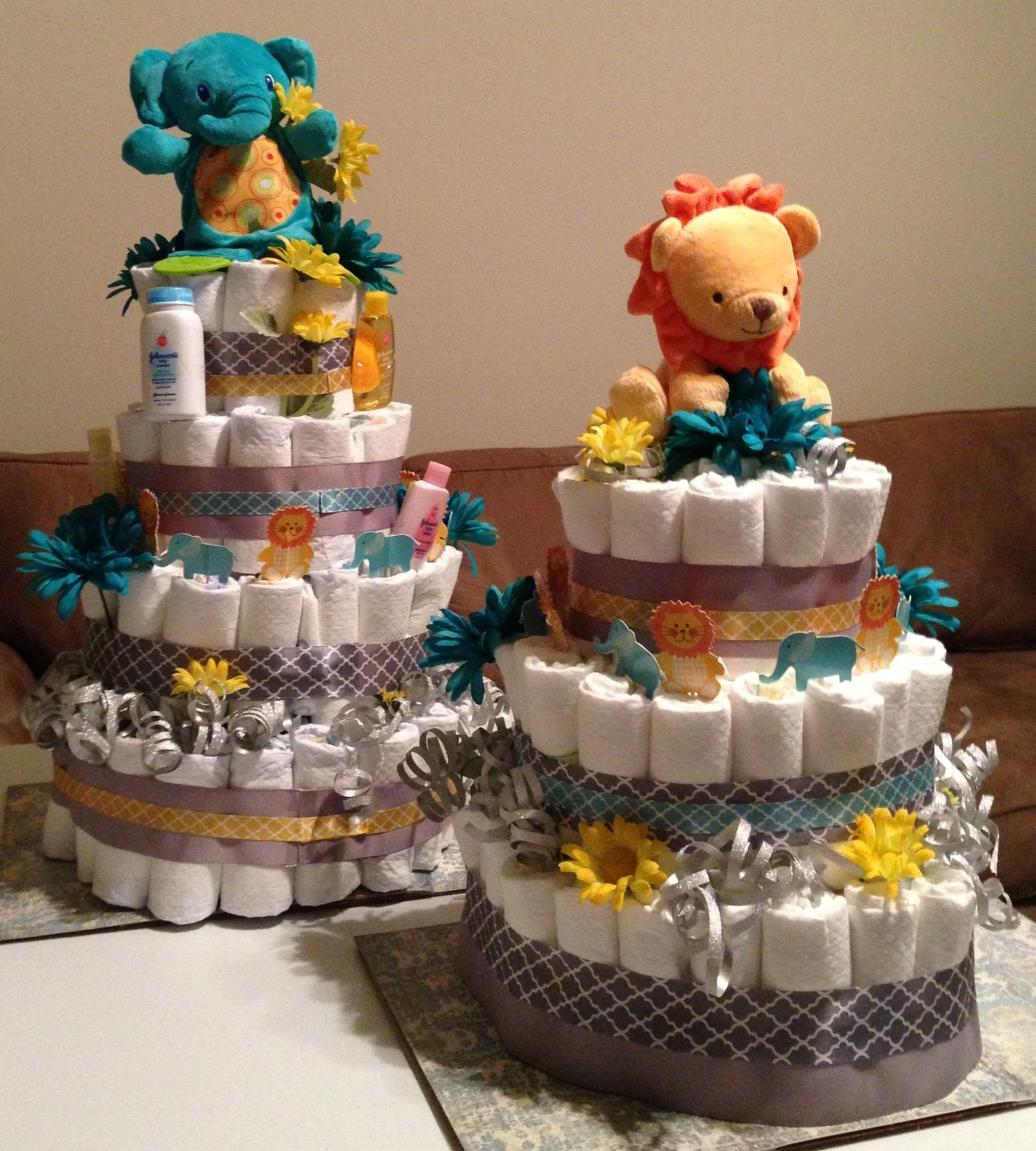 Lion And Elephant Diaper Cake Pair! My First Classic