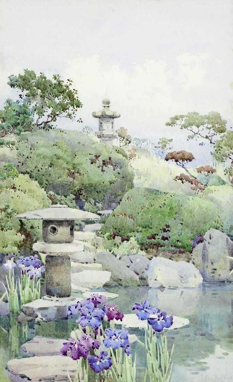Ella Du Cane 1874 1943 Japanese Watercolor Garden Watercolor