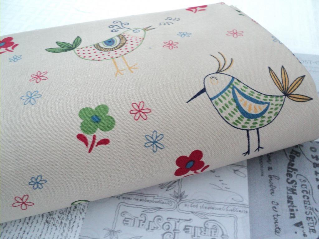 Folksy Little Hens Beige Linen Look Fabric Natural Japanese Floral Natural   eBay