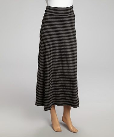 Love this Charcoal & Heather Gray Stripe Maxi Skirt on #zulily! #zulilyfinds