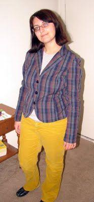 bold colored bottom and blazer  http://ohsaraho.blogspot.com/2011/04/what-i-wore-04112011.html