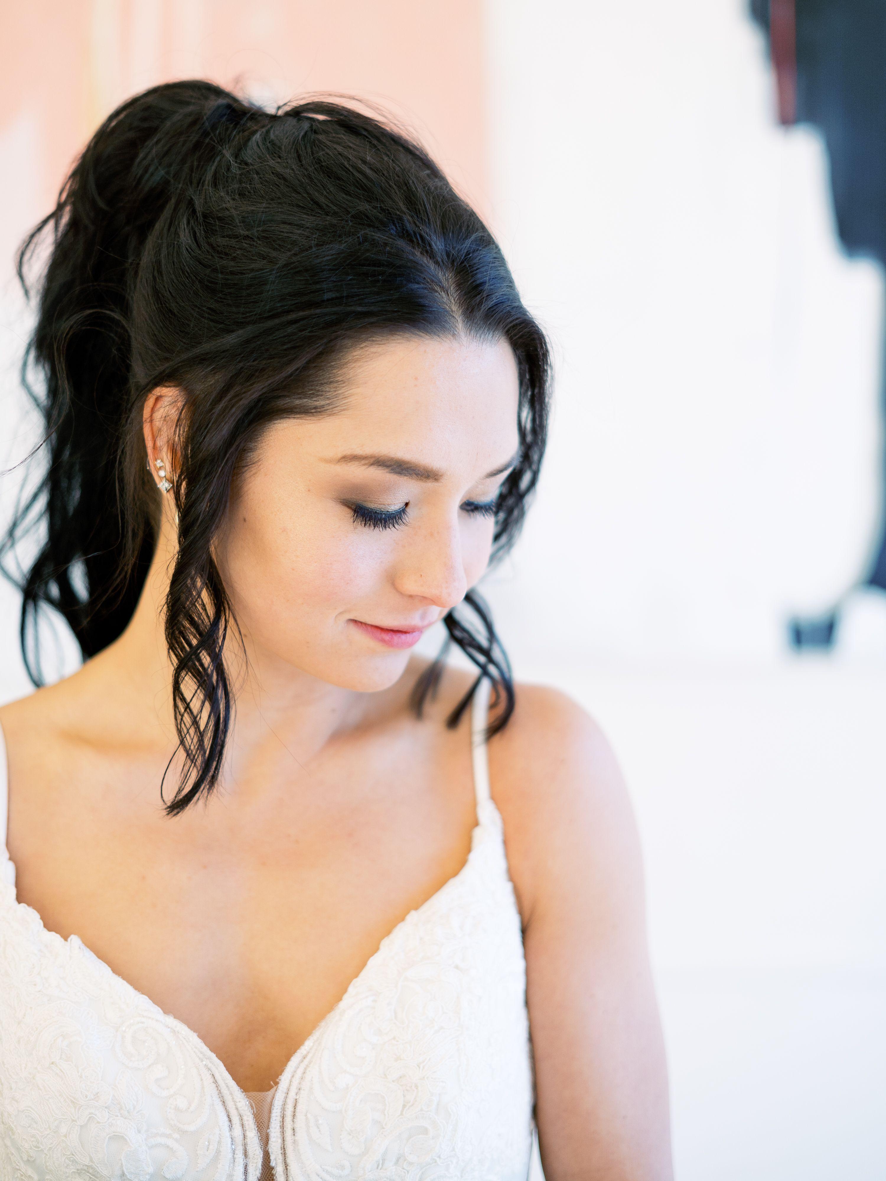 Fresh, natural bridal makeup with a glam ponytail