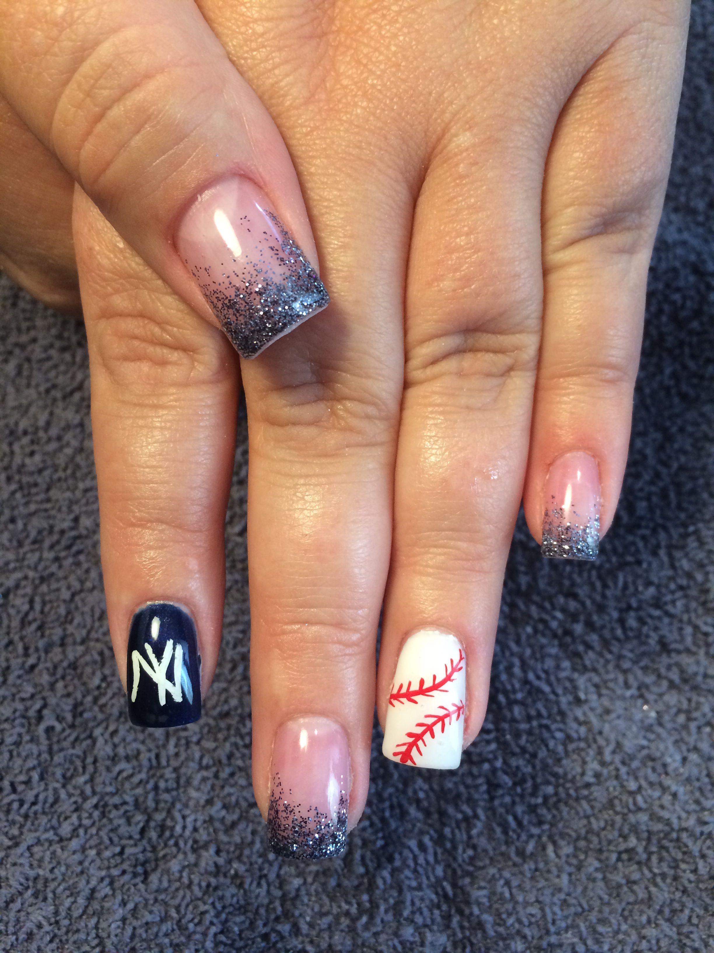 Gel nails New York Yankee baseball style | Nails | Pinterest ...