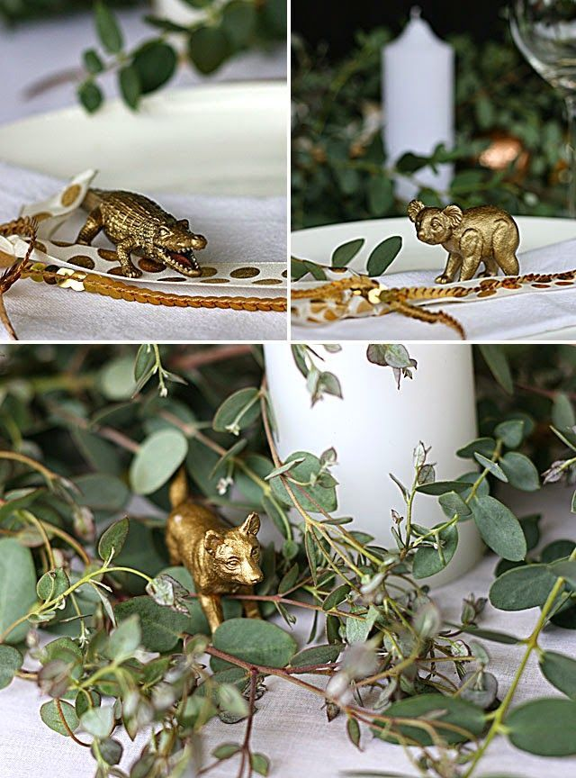 My Australian inspired Christmas table with eucalyptus canopy gold accents and Australian animals & My Australian inspired Christmas table with eucalyptus canopy ...