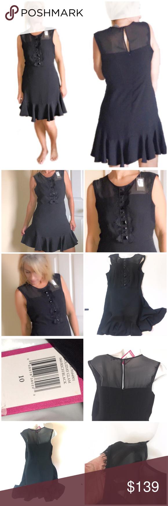 Vince Camuto Black Illusion Ruff Hem Dress 10 New Vince Camuto Black Sleeveless Dress With Illusion T Classic Black Dress Illusion Top Dress Little Black Dress [ 1740 x 580 Pixel ]