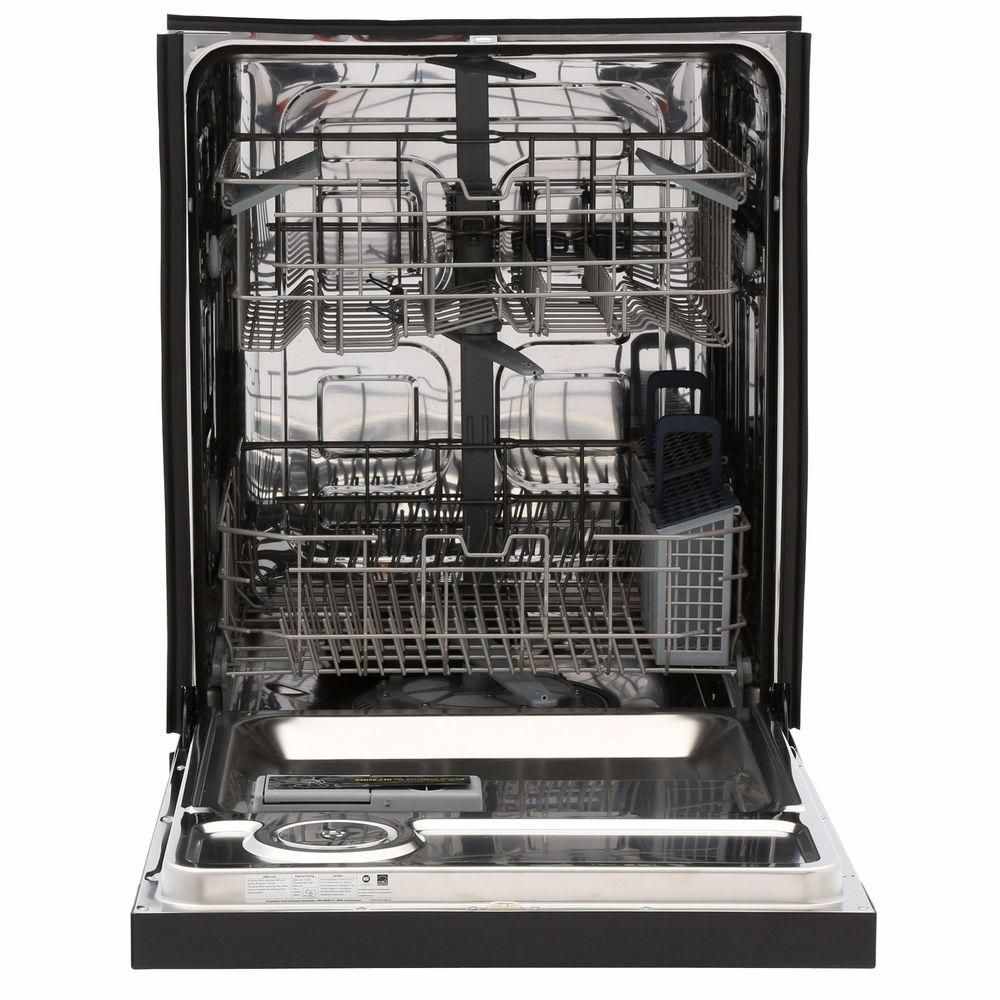 Samsung 24 In Front Control Dishwasher In Black With Stainless Steel Tub 50 Dba Dw80j3020ub The Home Depot Built In Dishwasher Steel Tub Black Dishwasher