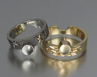 Sun And Moon Eclipse Engagement Wedding Ring Set By Wingedlion