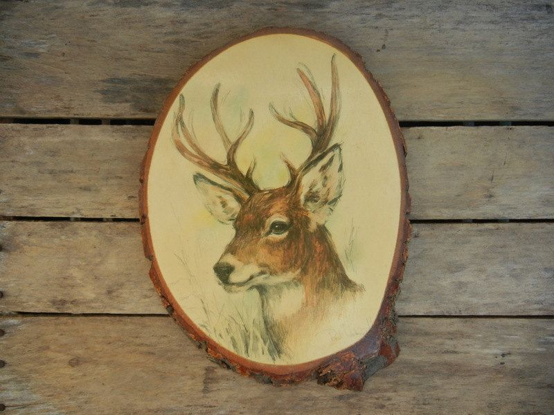 Vintage Deer Head Natural Wood Wall Decor Rustic Christmas Holiday ...