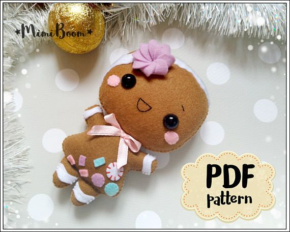 This is a digital tutorial on how to make Gingerbread Girl Christmas ornament from felt Included step by step instructions, pictures and full size pattern pieces (no need to enlarge or resize). Its completely hand sew and you dont need a sewing machine. THIS IS NOT A FINISHED TOY. THIS IS
