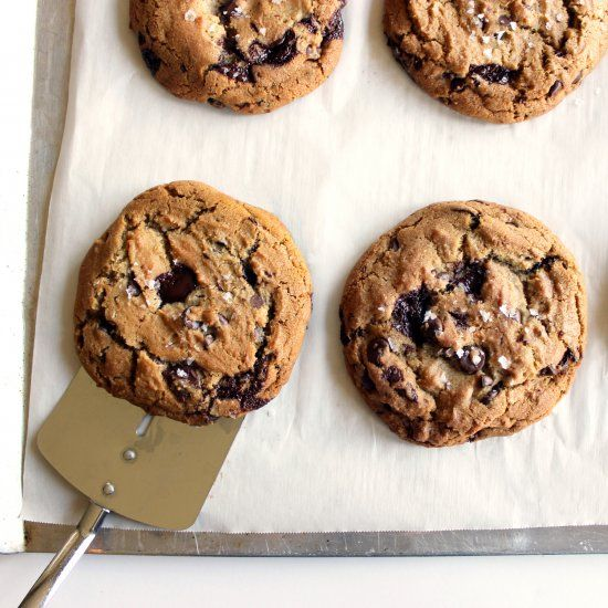 My absolute favorite chocolate chip cookies! Made with brown butter, dark chocolate, and Maldon salt.