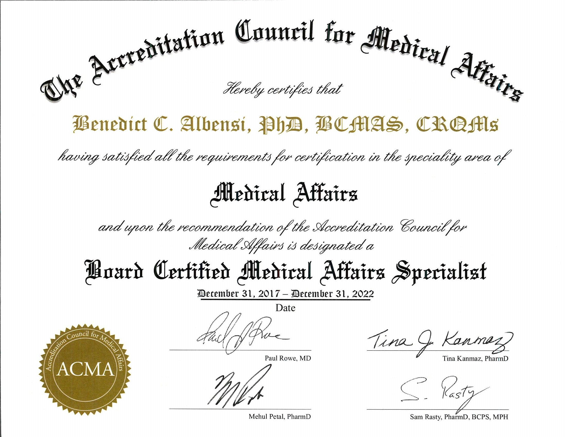 Board Certification In Medical Affairs From Acma In Ny Ny Dr