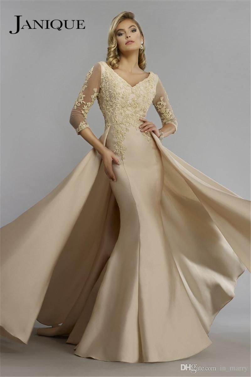 Champagne overskirt mermaid mother of the bride dresses for Formal wedding dresses for mother of the bride