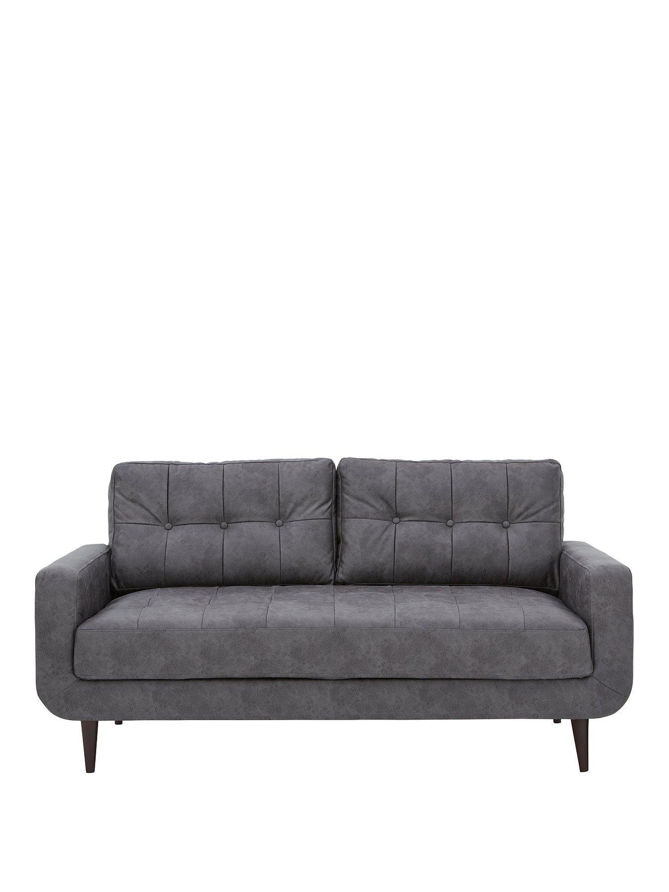 Skandi Faux Leather 3 Seater Sofa Faux Leather Sofa 3 Seater Sofa Leather Sofas Uk
