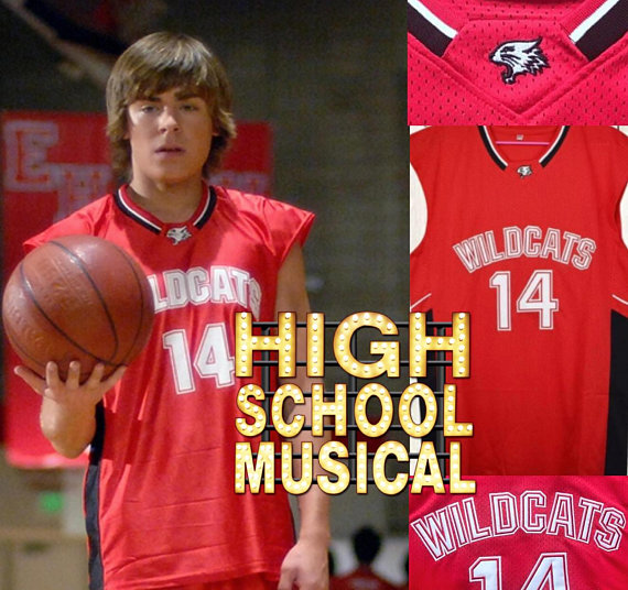 Troy Bolton Wildcats High School Musical Jersey Zac Efron Vanessa Hudgins  Basketball Movie Baywatch 25711c68a