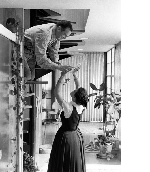 Ray Eames, via The Design Files. Charles and Ray Eames at home circa 1970 – as seen in EAMES : The Architect and The Painter.  Image provided courtesy of Madman Entertainment.