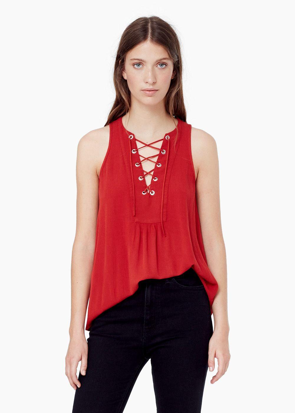 Blusa cordón - Camisas de Mujer | MANGO
