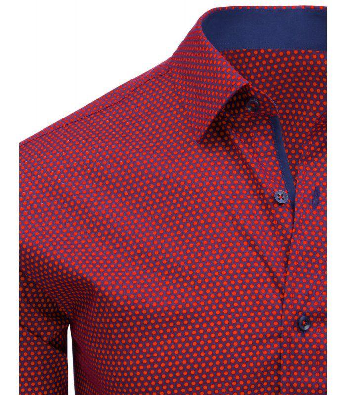 83046f80de74 Červená pánska košela so vzorom a dlhými rukávmi