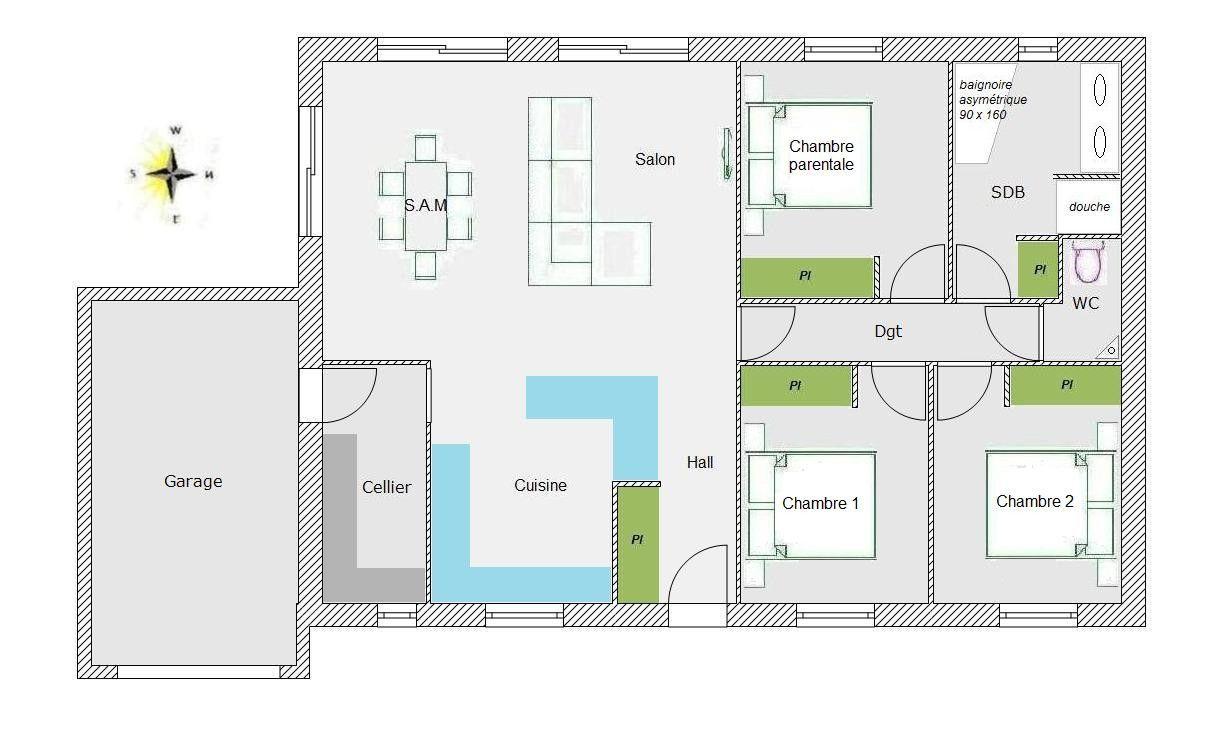 Plan Maison Gratuit Plain Pied 3 Chambres Plan Maison 70m2 2 Chambres Plain Pied Avis Plan 95 M2 Pied Plan De Maison Gratuit Plan Maison Plan Maison Plain Pied